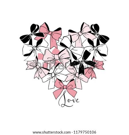 festal graphic bows heart