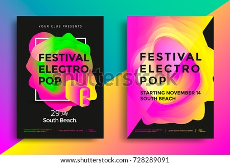 Festival electro pop poster. Colorful vibrant gradient background. Template for club party flyer. Vector illustration