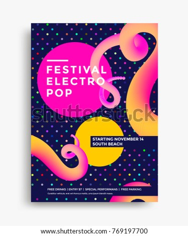 Festival electro pop poster with abstract colorful shape. Template for club party flyer. Vector illustration