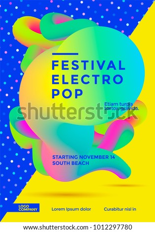Festival electro pop poster with vibrant gradient shape. Template for club party flyer. Vector illustration