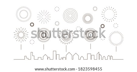 Festival fireworks celebrate. Collection of firecracker burst black line simple on the sky over the city design on white background.  Elements for Happy New year, anniversary. Vector illustration.