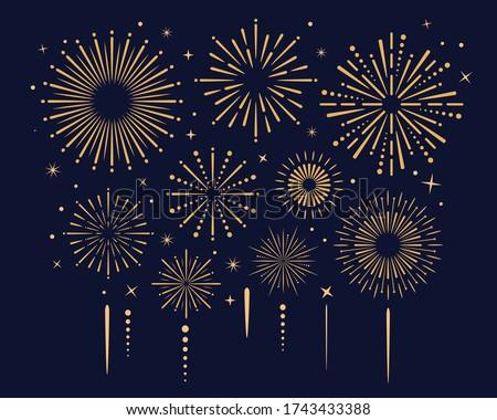 Festival gold fireworks explode in the sky. Fireworks background for banner, poster. Independence, celebration, anniversary templates. Vector illustration
