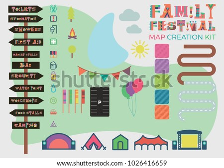 Festival map building kit including signage, roads, stages, area fills, icons, roads, parking and flags.