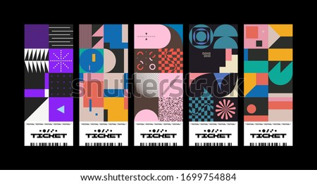 Festival tickets design layout templates collection made with vector geometric pattern graphics and abstract text. Useful for creating invitations, banners, posters, flyers, prints, labels, tickets.