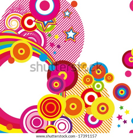 Festive abstract background of the brightest bands, arcs, circles and stars on a white background. 8/22. VECTOR (See Jpeg Also In My Portfolio)