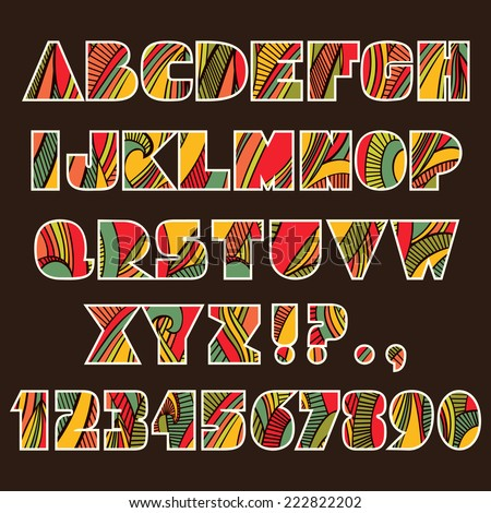 Festive Alphabet. Set Of Abc Letters And Numbers With Abstract ...