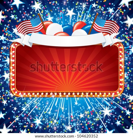 Festive American Sign. Illustration for Independence Day Celebration.