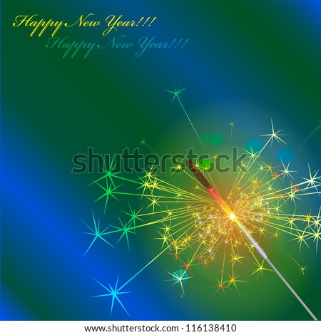 Festive background with burning Bengal light and an inscription Happy New Year. Vector. eps 10