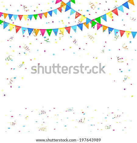 Festive background with colored pennants and confetti, illustration.