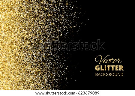 festive background with falling glitter confetti golden dust on black sparkling glitter border