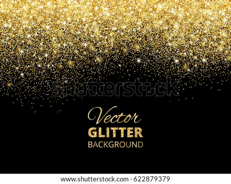 festive background with falling glitter confetti golden dust sparkling glitter border vector frame