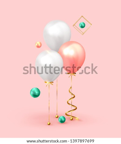 Festive background with helium balloons. Celebrate a birthday, Poster, banner happy anniversary. Realistic decorative design elements. Vector 3d object ballon with ribbon, pink and white color.