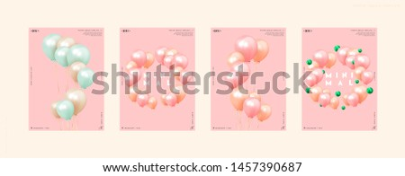 Festive background with helium balloons. Celebrate a birthday, Poster, banner happy anniversary. Realistic decorative design elements. Vector 3d object ballon with ribbon, pink and orange color.