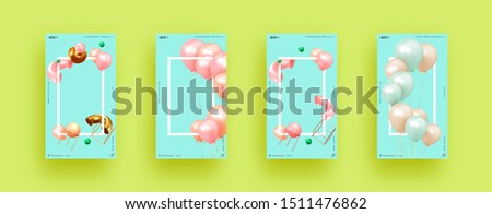 Festive background with helium balloons, 3d geometric objects. Celebrate a birthday, Poster, banner happy anniversary. copy space for text. Vector ballon, pink blue color. social media story template