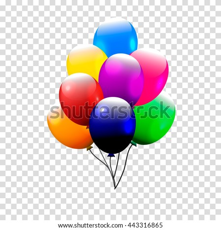 Festive Balloons real transparency. Vector illustration. 3d illustrator. red yellow blue green violet orange balloons isolated. colorful 3d balloon bunch. For party, birthday invitation.
