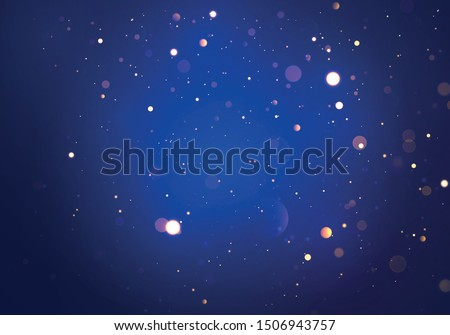 Festive blue, purple and golden luminous background with colorful lights bokeh. Christmas concept Xmas greeting card. Magic holiday poster, banner. Night bright gold sparkles Vector Light abstract