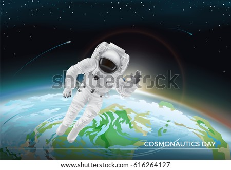 Festive card for Cosmonautics day graphic design. Vector illustration of flying cosmonaut in white suit in space. Dark sky with bright stars and burning comets. Part of planet Earth on background.