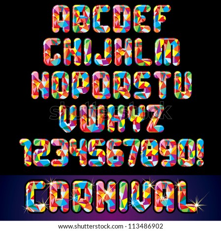 vector of stylized colorful font alphabet and numbers the perfect
