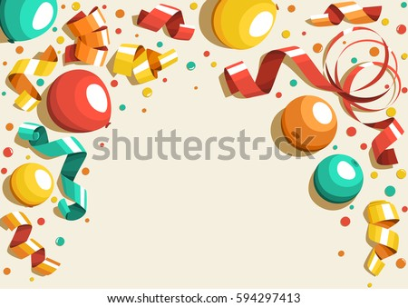 Festive Celebration Concept with Colorful Balloons Ribbons and Confetti Isolated on Beige Background