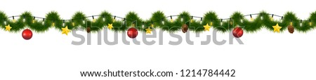Festive Christmas garland. New Year decorative torse, Horizontally seamless festoon.