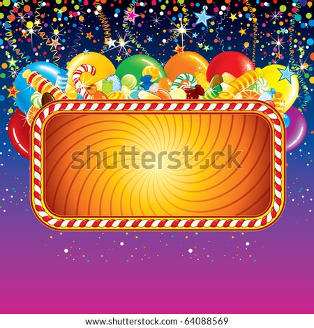 Festive Christmas Sign with balloons, confetti, presents on bright colorful background..Ready for celebrating and greeting text or design.