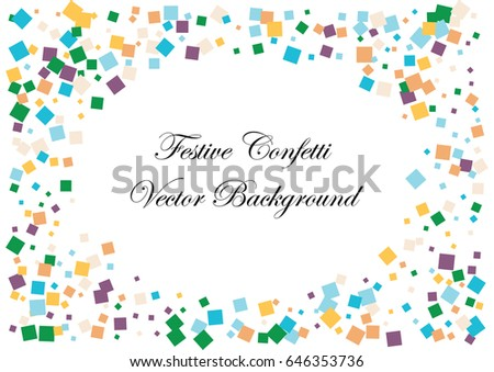 Festive colorful square confetti background. Ellipse frame vector frame texture for holidays, postcards, posters, websites, carnivals, birthday and children's parties. Cover mock-up. #646353736