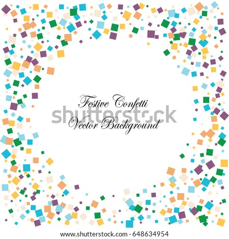 Festive colorful square confetti background. Square frame vector frame texture for holidays, postcards, posters, websites, carnivals, birthday and children's parties. Cover mock-up. #648634954