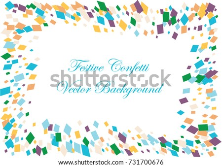 Festive colorful square confetti background. Twisted  vector texture for holidays, postcards, posters, websites, carnivals, birthday and children's parties. Cover mock-up. New year, Christmas theme #731700676