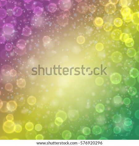 Festive colorfull luminous background. Yellow, green, purple violet colors. Holiday banner with bokeh and lights. Mardi gras template for party, design, decor. Vector illustration.