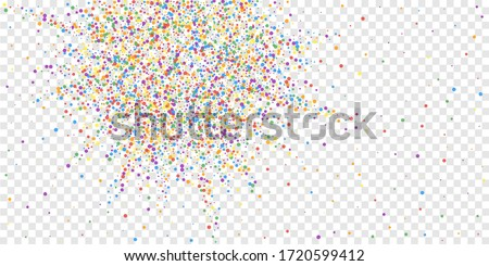 Festive confetti. Celebration stars. Joyous confetti on transparent background. Cute festive overlay template. Magnificent vector illustration.