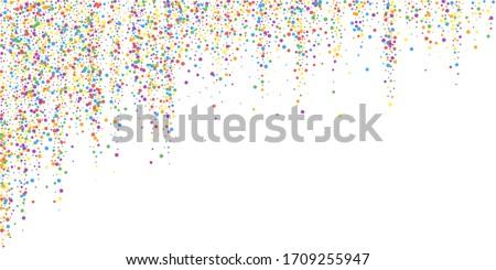Festive confetti. Celebration stars. Joyous confetti on white background. Delicate festive overlay template. Classy vector illustration.