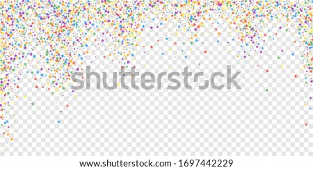 Festive confetti. Celebration stars. Rainbow bright stars on transparent background. Delightful festive overlay template. Creative vector illustration.