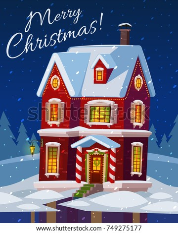 festive cozy decorated house or