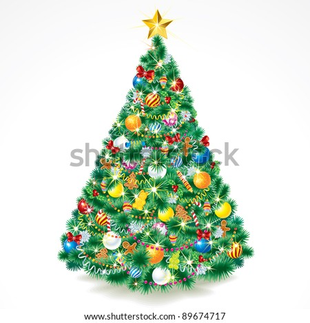 Festive Decorated Christmas Pine Tree, isolated vector illustration of xmas symbol