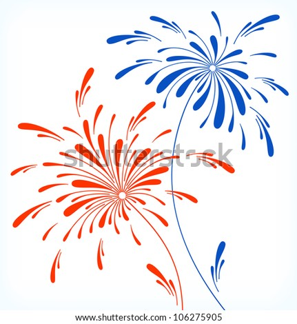 Festive firework in honor of Independence day. Vector Illustration.