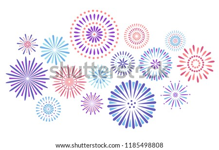 Festive fireworks. Celebration party firework, festival firecracker and, holiday feast celebrated colorful sky fire explosion stars, birthday or Xmas celebrating isolated vector background