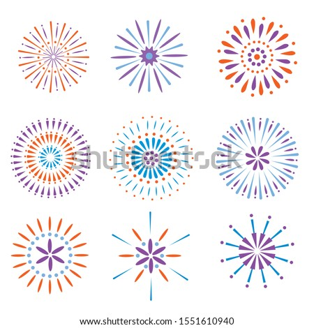 Festive fireworks. Celebration party firework, festival firecracker and, holiday feast celebrated colorful sky fire explosion stars, birthday or Xmas celebrating isolated vector background - Vector