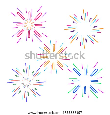Festive fireworks. Celebration party firework, festival firecracker, holiday feast celebrated colorful sky fire explosion stars, birthday or Xmas celebrating isolated vector background with doodle