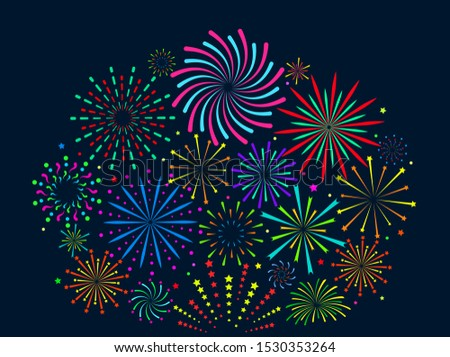 Festive fireworks. Festive christmas salute, new year pyrotechnic explosions with sparks. Xmas firecrackers vector celebration sparkling design background