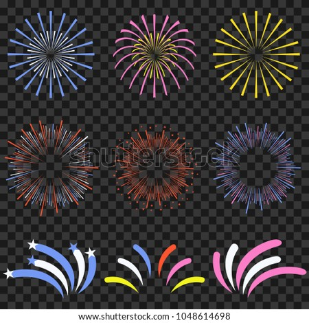 Festive fireworks isolated on transparent background. Brightly, colorful and monochrome celebration firecrackers. Vector