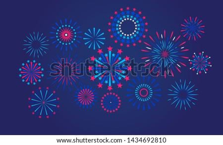 Festive fireworks on a night background. Vector illustration