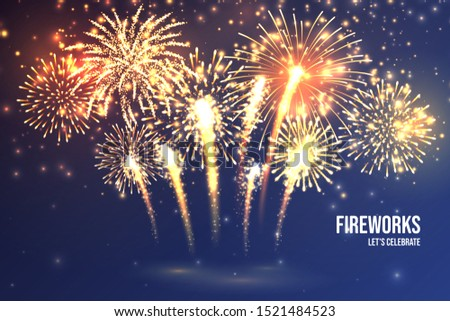 Festive fireworks. Realistic colorful firework on blue abstract background. Multicolored explosion. Christmas or New Year greeting card. Diwali festival of lights. Vector illustration.