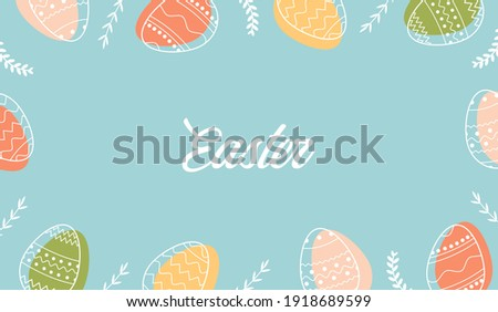 Festive frame template with trendy outlined geometric pattern on Easter Eggs. Decorative horizontal banner with Easter eggs and leaves on blue background. Vector border for holiday with place for text