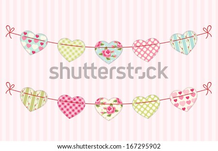 Festive garland for valentines day with fabric handmade hearts of different ornaments in shabby chic style