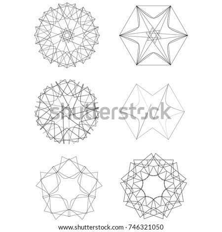 Festive geometric set stars and flowers pattern for gifts and holidays, for packaging, polygon, clothing, goods and logos