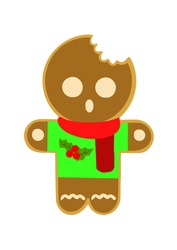 Festive gingerbread cookie man. Human-shaped cookie with colored glaze. Cute vector illustration for Christmas, New Year winter holiday, cooking, new year s eve