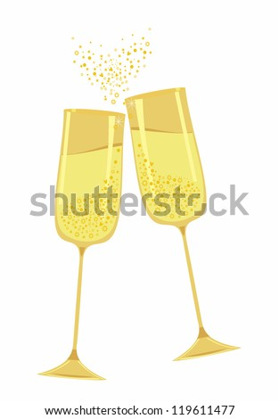Festive gold champagne glasses.Scalable and editable vector