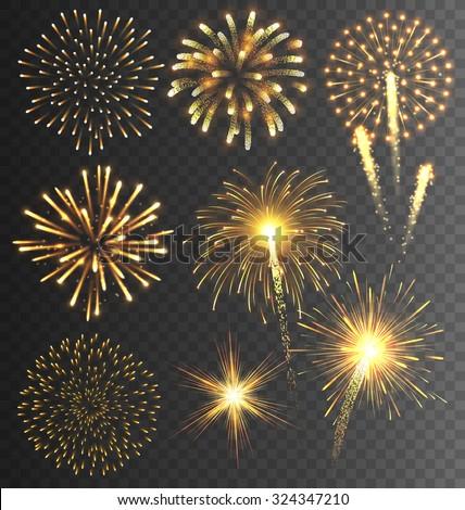 festive golden firework salute