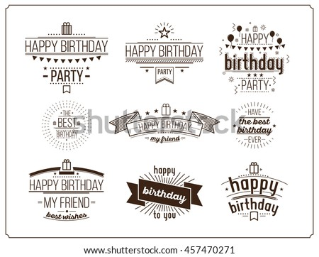 Festive Happy Birthday monochrome set. Modern Retro popular design style collection. Vintage images 20 60s Old-fashioned packaging, posters, stamps, signs. Script, sans serif fonts typography