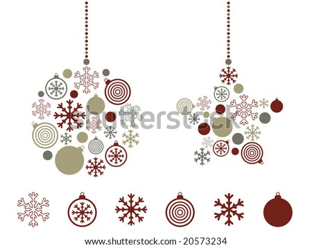 festive icons with hanging decorations